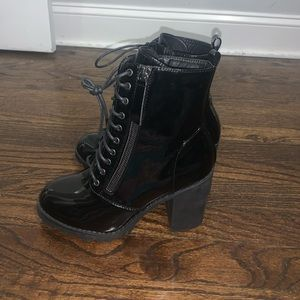 Patent Leather Black Booties